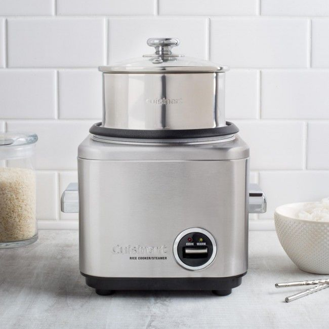Making the perfect rice dish is easy with the new brushed stainless steel Cuisinart Rice Cooker. Its steam vent helps to prevent splattering, while its chrome-plated handles stay cool to the touch. Use the built-in tray to steam other foods while the rice is cooking; when you're done, the non-stick coating and durable construction make clean-up a breeze.