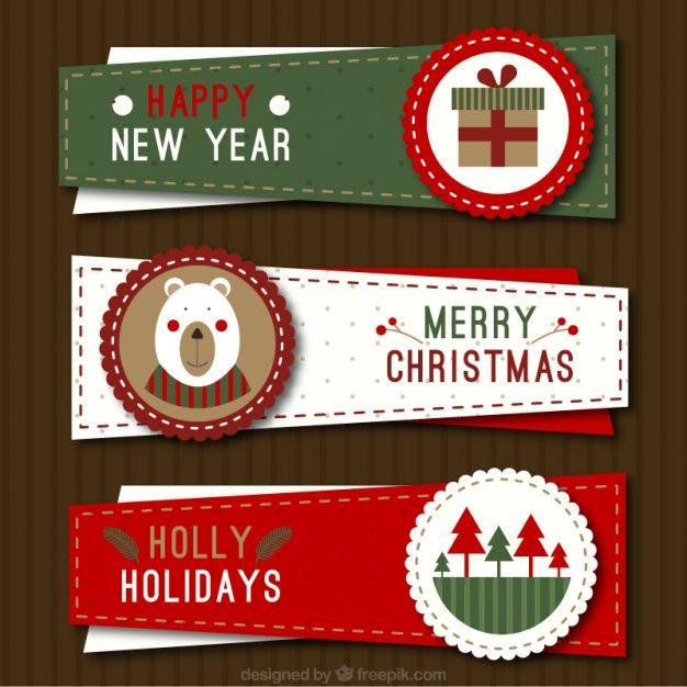 Tres banderas de la Navidad irregulares en el estilo de la vendimia del vector gratuito