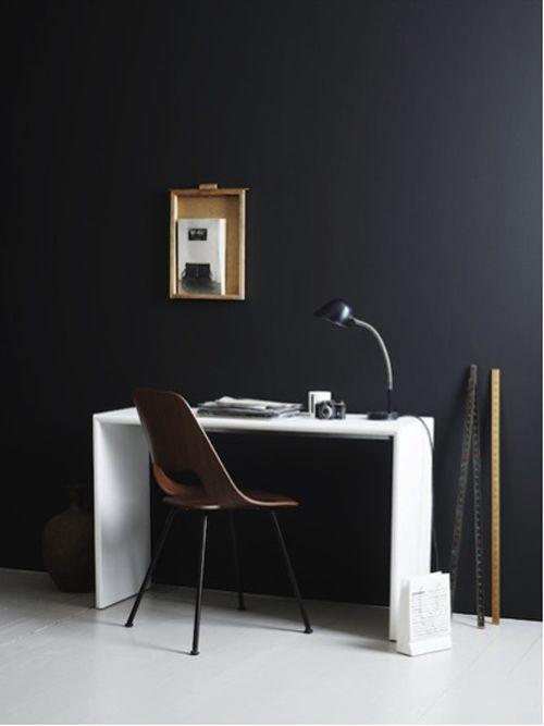 black Walls #study #desk #workarea