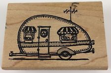 """Visions of Ink Rubber Stamp Trailer Camper Wood Mounted 2 1/2"""" x 1 3/4"""""""