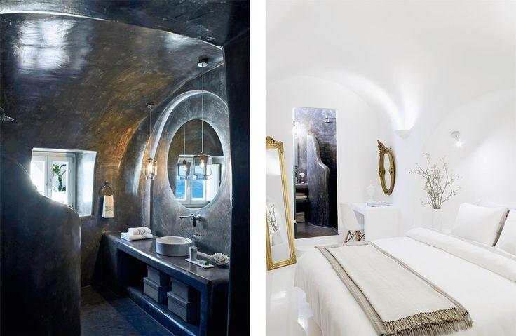 Ванная декорирована под старый камень, что делает ее похожей на пещеру. В спальне хозяев сразу три антикварных зеркала — они визуально расширяют пространство и украшают потолок и стены солнечными бликами