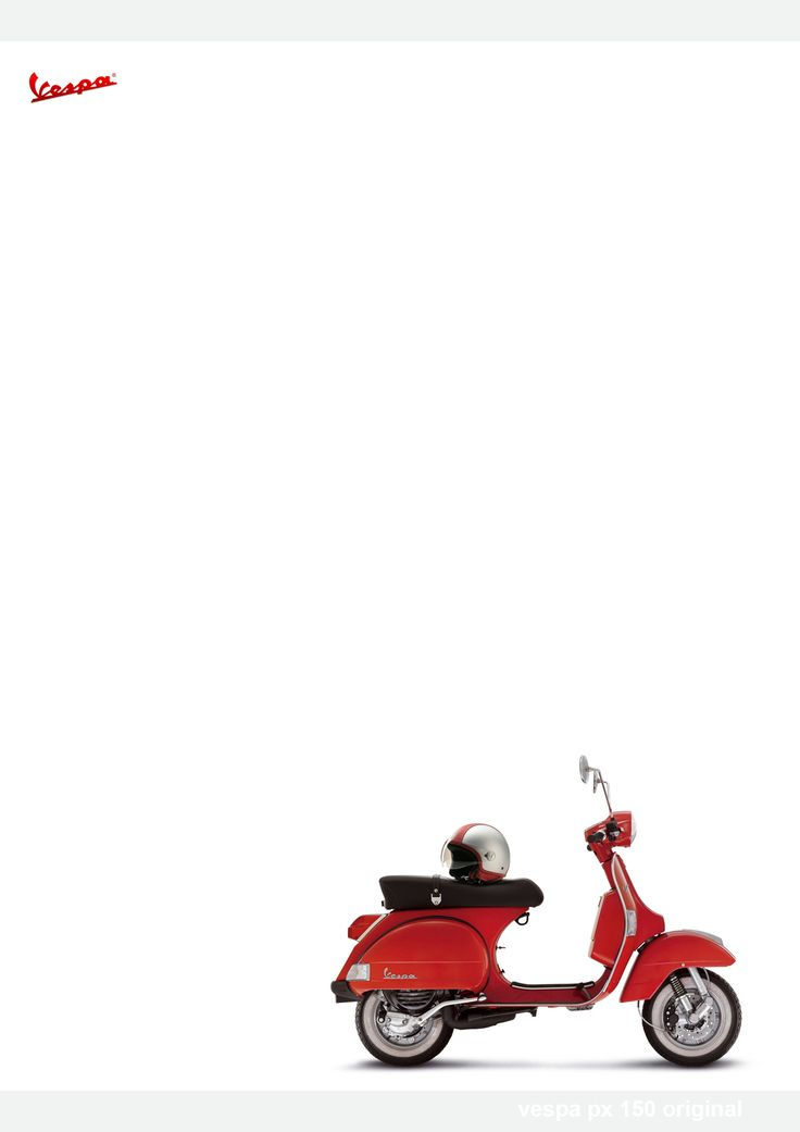Vespa PX 150 Rosso with a Piaggio Copter helmet.