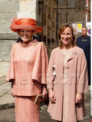 05-04-2014 Christening (doop) of Princess Cecilia de Bourbon de Parme in Piacenza, Italy. Princess Margarita de Bourbon de Parme and Princess Beatrix.