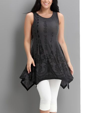 Look what I found on #zulily! Charcoal Ornate Handkerchief Tunic - Plus #zulilyfinds