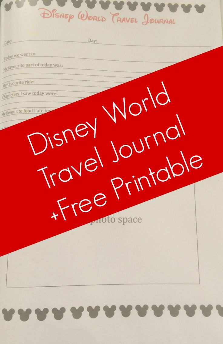 Disney Travel Journal - Free Printable - The Life Of Spicers