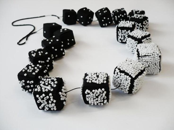 """Yang-Yin""    neckpiece, pvc fabric, beads    ""Sequences"" collection    by Eleni Kyrmizaki"