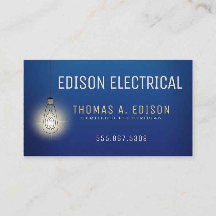 Electrician Electric Lightbulb Business Card Zazzle Com Electrician Electricity Business