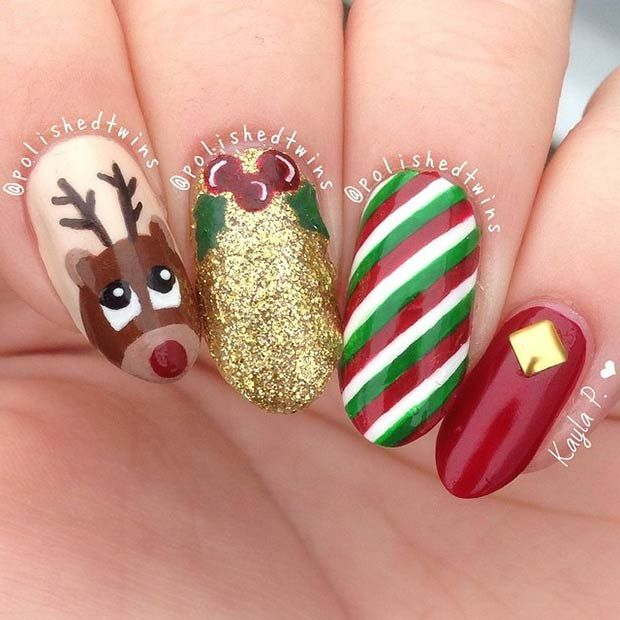 146 Best Xmas Nail Art Images On Pinterest Christmas Nails Nail