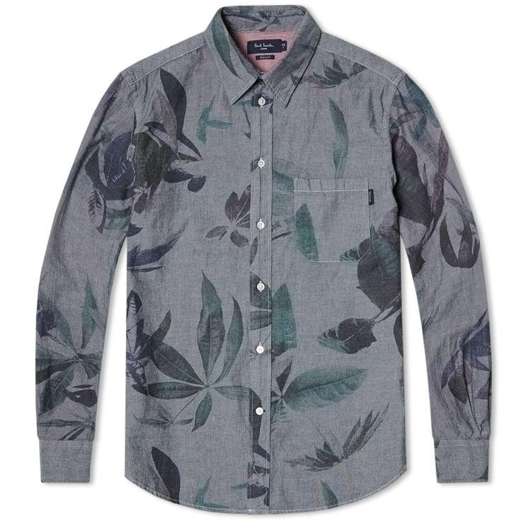 Paul Smith Floral Print Chambray Shirt (Grey)