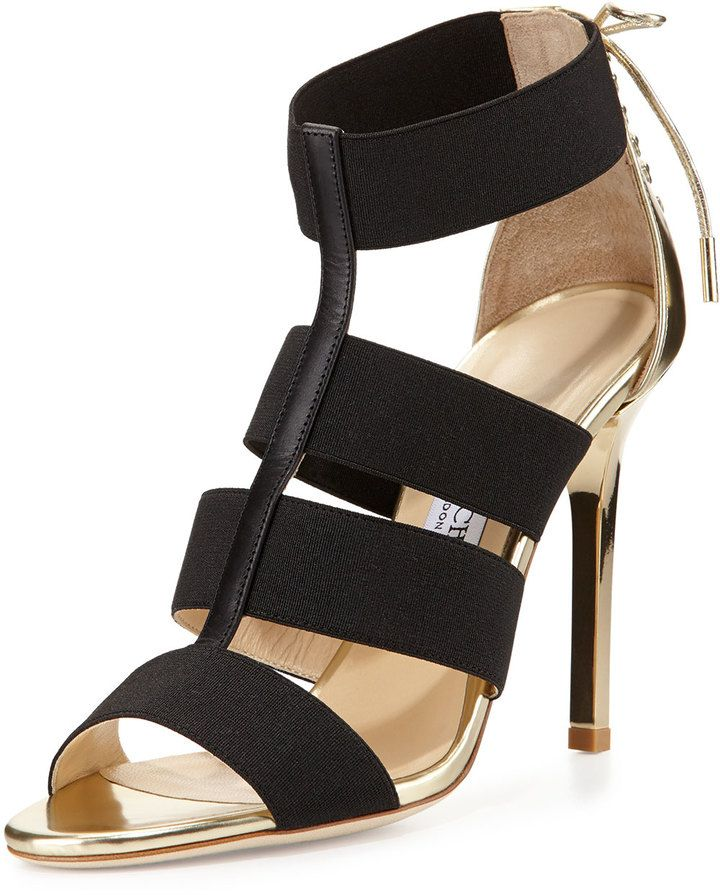 Appealing Jimmy Choo Sandals Black Dario Elastic And Mirrored leather