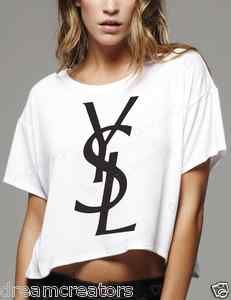 YSL Yves Saint Laurent Logo Ladies White Boxy T Shirt | eBay