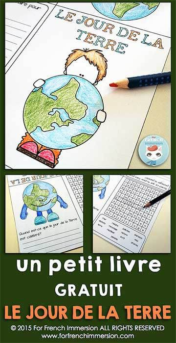 FREE - French Earth Day Mini-Book - le jour de la Terre en français - writing prompt and word search - GRATUIT