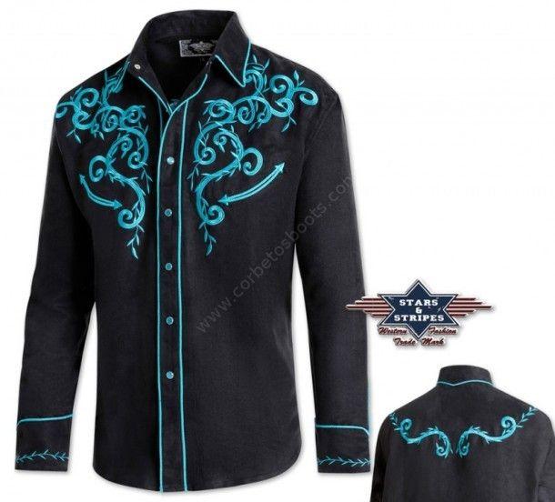 Anímate a comprar esta camisa western negra con fantásticos bordados color turquesa y de suave tacto aterciopelado para el baile country o shows. Blue embroidery western retro shirt for men.