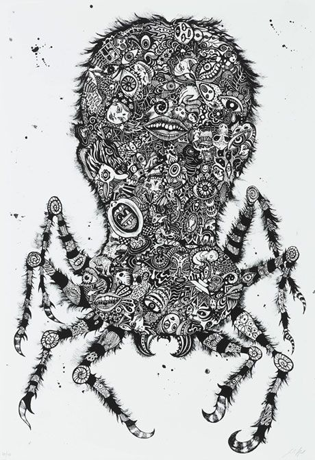 Julie Nord for sale - Common House Spider (Black) Lithography