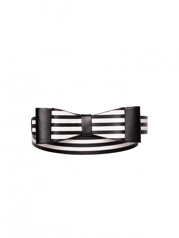 Maddie Bow Stripe Belt Black and White L