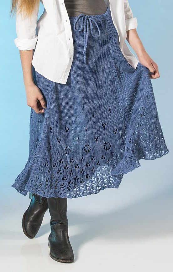 Free Knitting Pattern for Eyelet Skirt - Laurel Murphy's flowing lace skirt is perfect for layering over leggings. Extra Small (Small, Medium, Large, 1X, 2X, 3X)