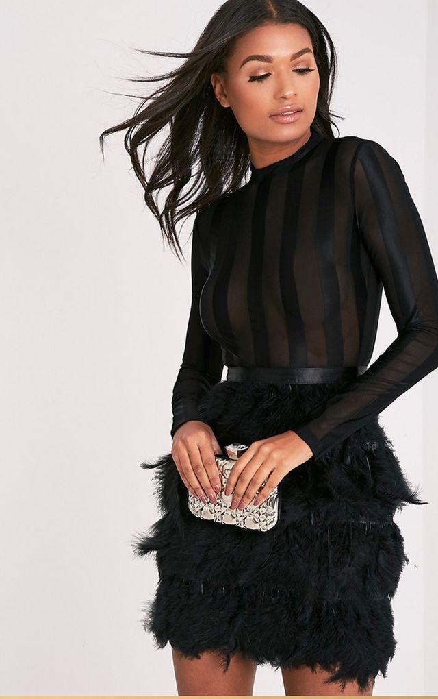 Fawn Black Feather Skirt Bodycon Dress   Feather skirt