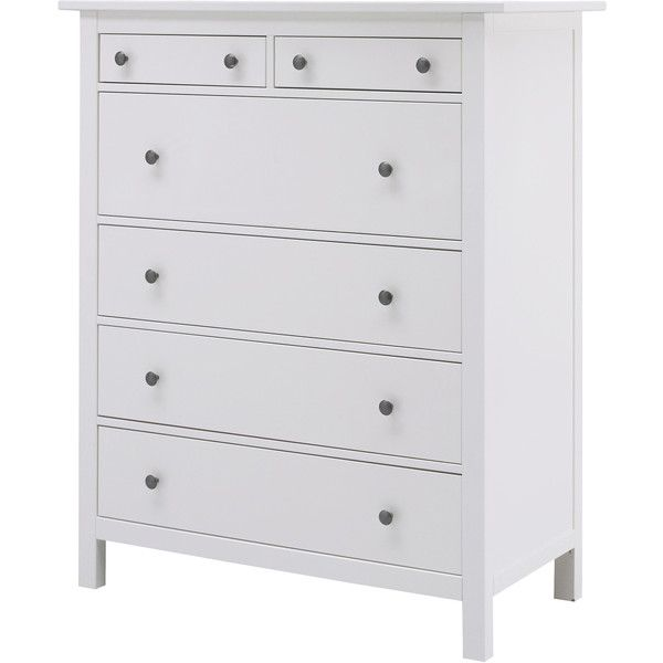 IKEA HEMNES 6-drawer chest, white ($249) ❤ liked on Polyvore featuring home, furniture, storage & shelves, dressers, ikea, bedroom, interior, dresser, white dresser and white 6 drawer dresser