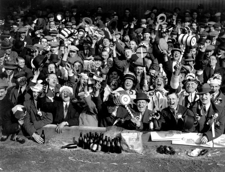 Supporters of West Ham United FC at a FA Cup semi-final match against Everton at the Hawthorns in 1933.