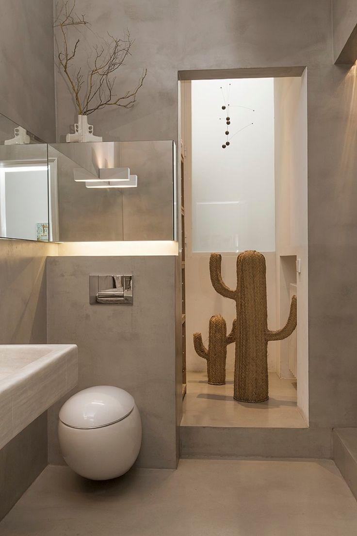 Baño cemento pulido, sanitario Laufen