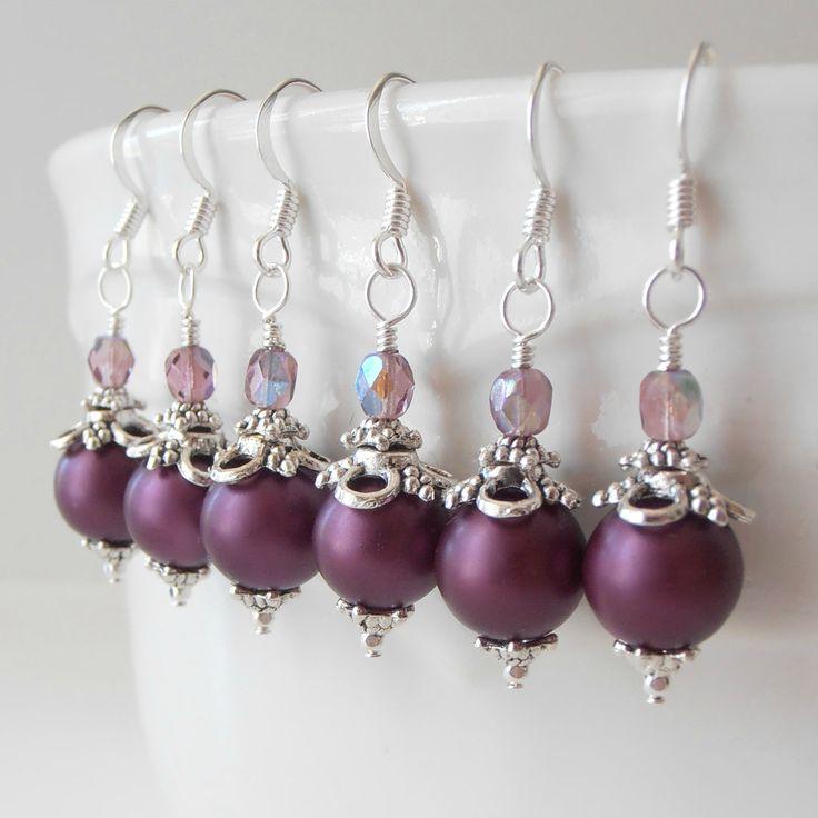 Bridesmaid Jewelry Pearl Earrings Plum Jewelry by FiveLittleGems