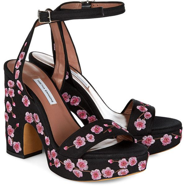 ... Detail View The Sweetest Thing Embroidered Heel Sandals in Black