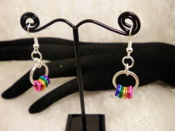 Silver Circled Color Earrings by ShellysUniqueJewelry for $10.00