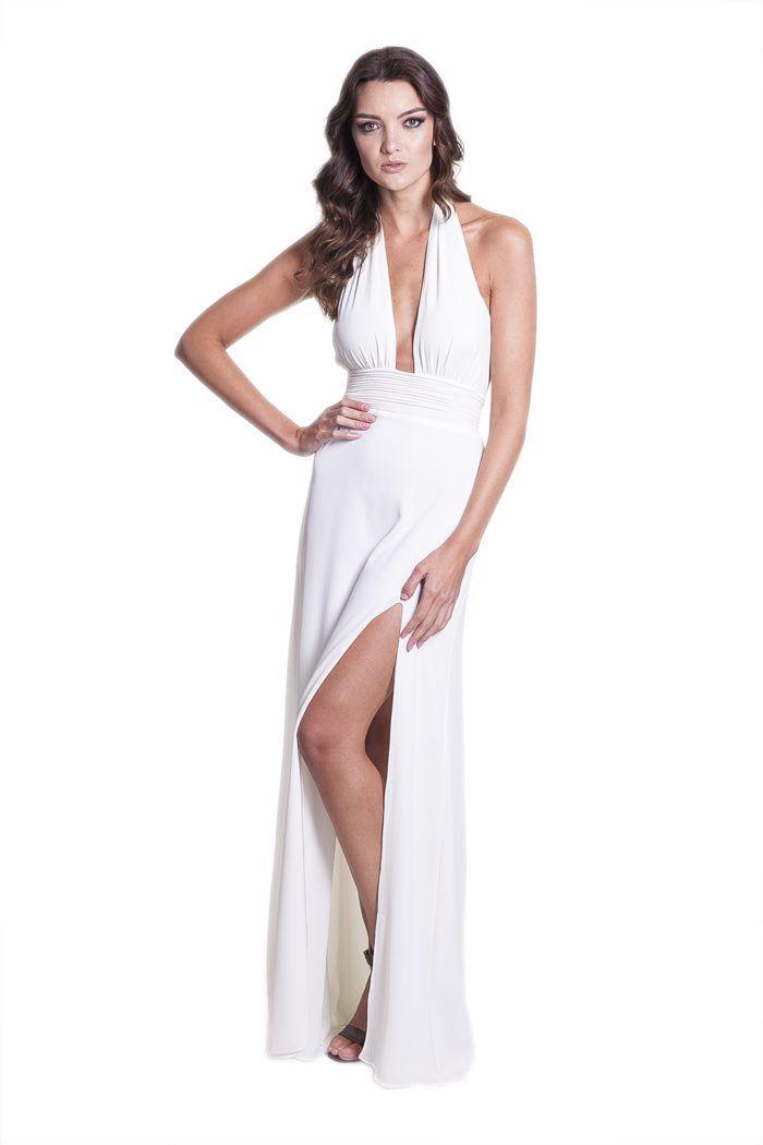d76b75046 Vestido branco para révillon Frente unica e decote profundo do Closet.me  por Vitrin.