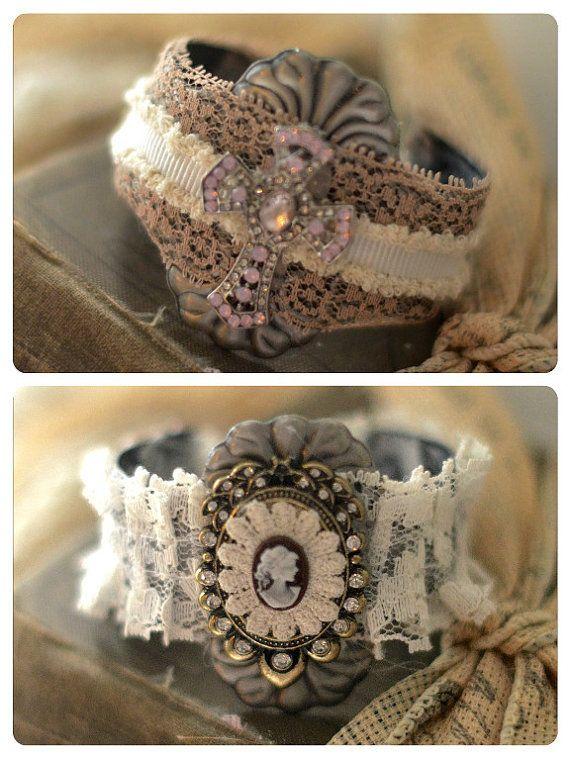 Boho Chic Shabby Cuff Bracelet Bangle Cross by BlackRainCouture