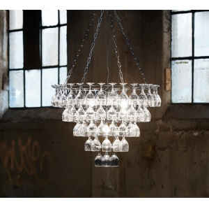 Wine Glass Chandelier...wonder if I could make something like this myself