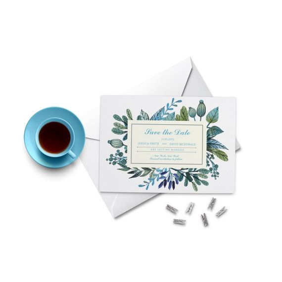 Watercolor Leaves Save the Date. Watercolour by PaperBoundLove