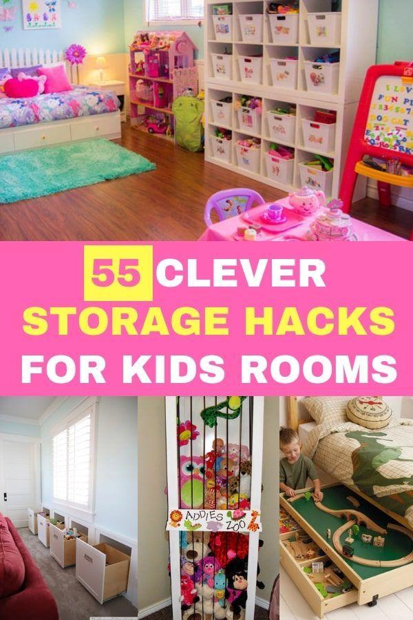 55 Clever Storage Hacks For Kids Rooms Storage Kids Room Small Kids Room Kids Bedroom Organization