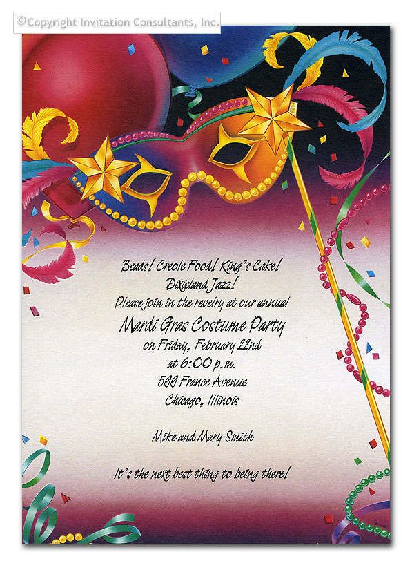Mardi Gras Party Invitations Lexu Tk