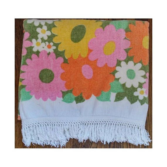 """2 Large Vintage 70s Flowered Bath Sheet Towels with Fringe Soft Terry Orange Pink Yellow Green White by Camtex Made in Canada 34 X 59"""""""