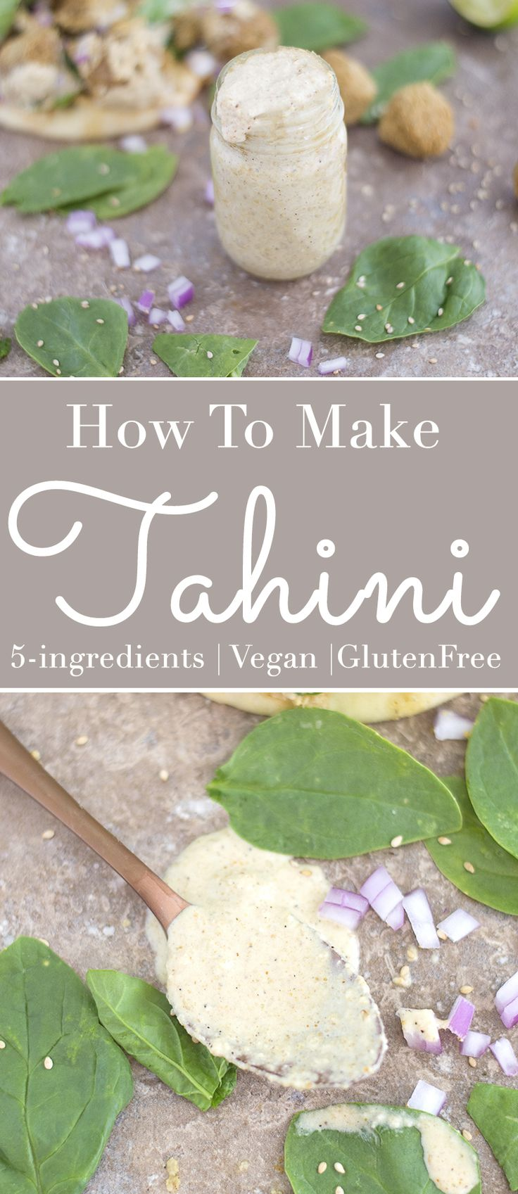 How do you make Tahini? 10 minutes and 7 ingredients needed to make this easy tahini recipe. This is a twist on the traditional tahini. | Spreads, homemade, dressings, Mediterranean recipes, Middle Eastern recipes.