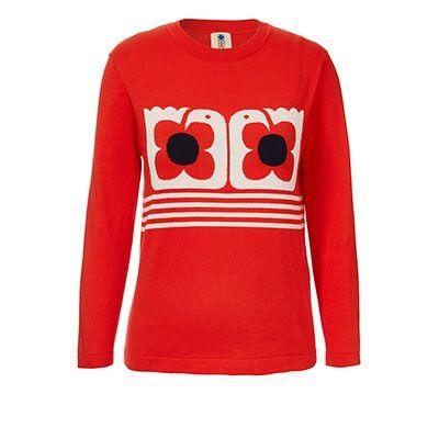 Orla Kiely | USA | Clothing | Sale - Stem | Love Bird Intarsia Sweater (17SKLBI221) | Orange