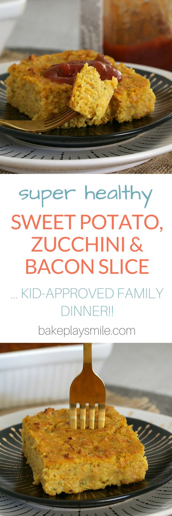 The most delicious and HEALTHY SWEET POTATO, ZUCCHINI & BACON SLICE! This freezer-friendly slice is perfect for the whole family! #vegetable #slice #healthy #family #kids #recipes #toddlers #thermomix #conventional #easy #dinner #lunchbox