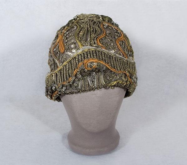 Sequined net evening cap, late 1920's1920 S, Black Nets, 1920S Sequins, Modern Wardrobes, Sequins Hats, Bronze Sequins, Orange Silk, Embellishments Cap, Late 1920S