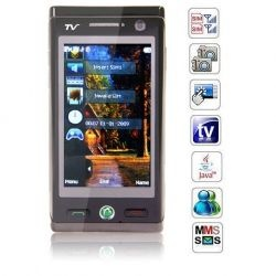 JXDA A03 Dual Cards Quad Band TV Java FM Touch Screen Cell Phone Black