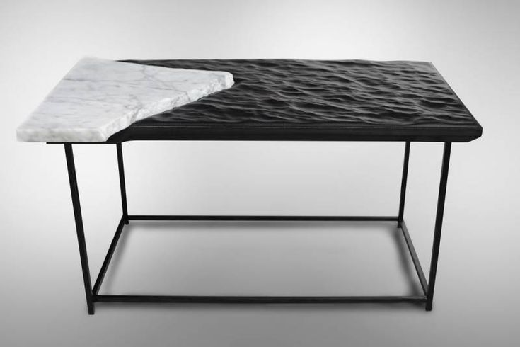 "Coffee Table ""Black Sea"" Damien Gernay DIMENSIONS:H 36 x W 70 x D 40 cm / H 14,17 - W 27,55 - D 15,74 inches Other dimensions on request  MATERIALS: Leather, marble, steel black oxide finish   Galerie Gosserez edition Each piece is signed and dated."