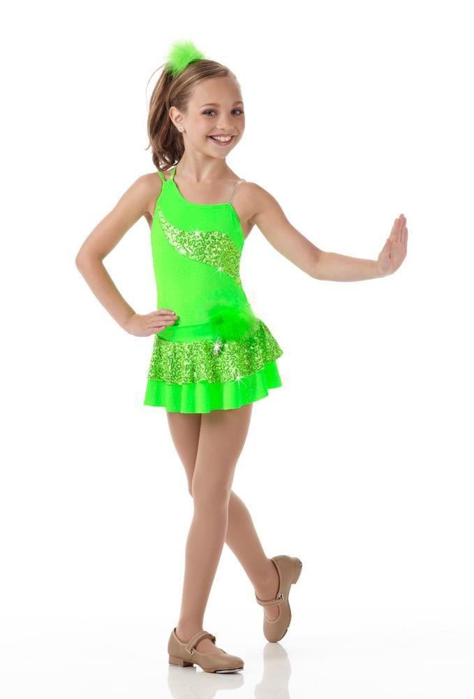 Maddie Ziegler in a Bright Green Dance Costume