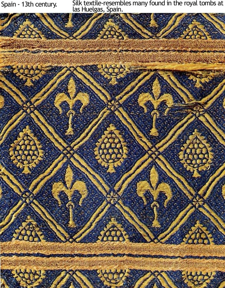 """Alleged to be from 13th century Spain, or perhaps just """"resembles"""" textiles from Las Huelgas. Have not been able to find any independent verification that this is indeed a medieval Spanish textile. Pinning here pending further research."""
