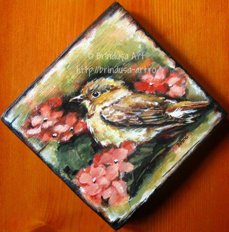 Brîndușa Art A bird among hydrangea flowers - painted plaque, acrylics on wood. 5.5 x 5.5 inches (14 x 14 cm). Pasăre între hortensii - tablou pictat pe lemn, în culori acrilice. 14 x 14 cm.  #flowers #flori #hydrangea #bird #pasare #acrylics #acrilice #woodpainting #picturapelemn #BrindusaArt 