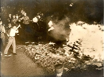 Berlin, Germany, 1933, A book burning. Banned books and all books by Jewish authors were burned