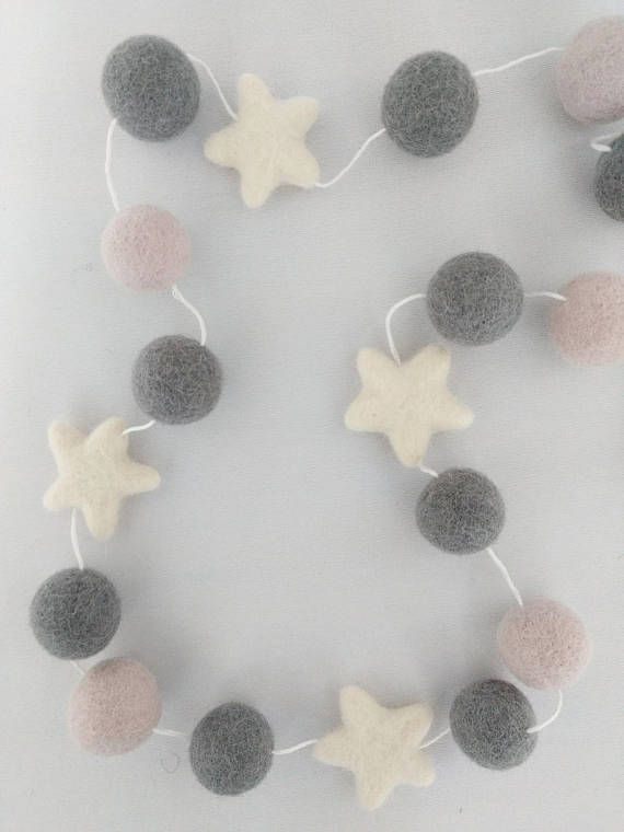 Gorgeous Star Garland perfect finishing touch for nursery or any room with soft grey or blush tones.     View the whole range of star garlands now at FridayStreetProject!    Don't forget all garlands can be customised to make them unique to you!     #NurseryGarland #NurseryDecor #Star Bunting