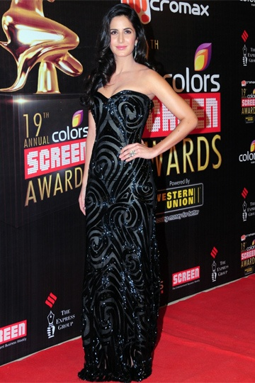 Katrina Kaif @ 19th Colors Screen Awards 2013, won Best Actress (Popular), wearing Naeem Khan (gorgeous gown)