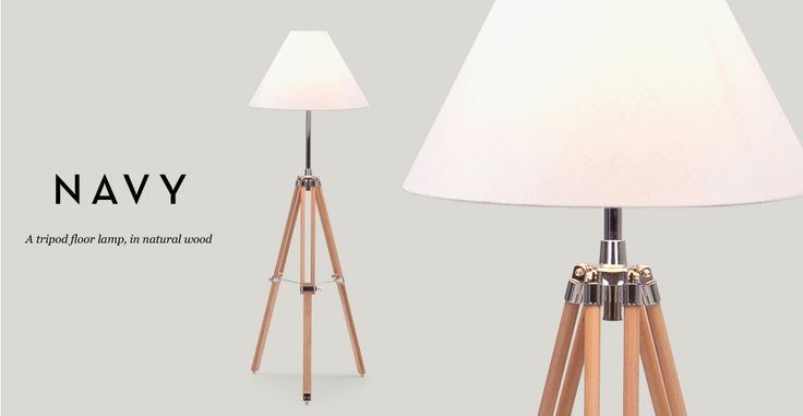 Navy Tripod Floor Lamp in natural wood | made.com