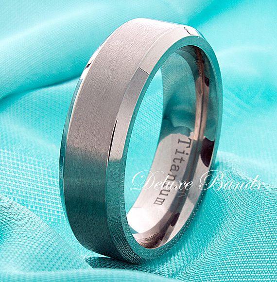 Titanium Wedding BandMens RingBrushed Beveled Edges by DeluxeBands