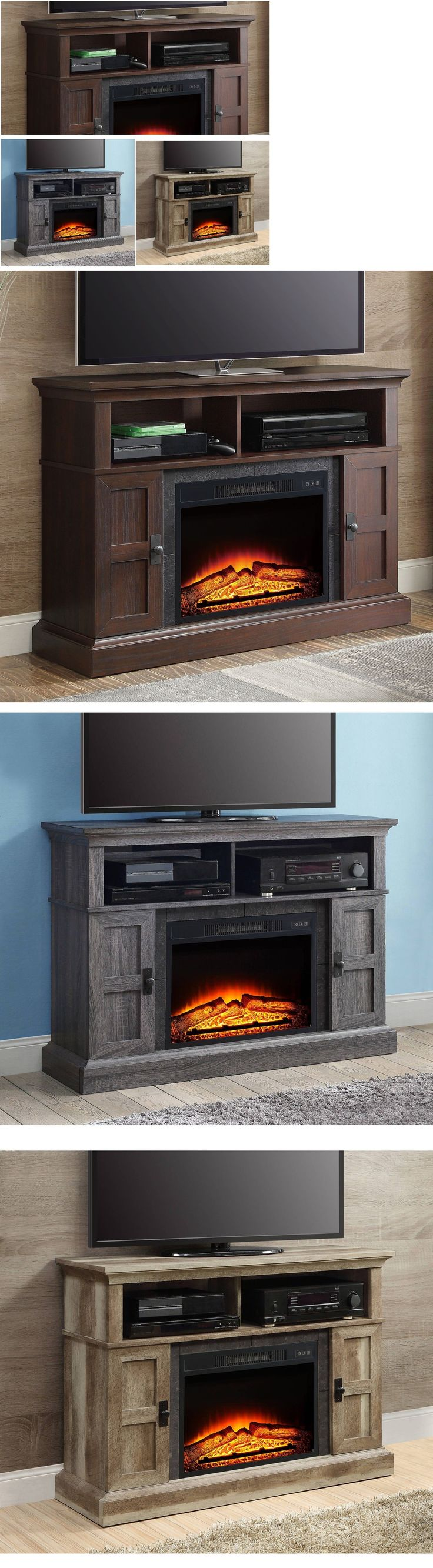 Cheap legends furniture cambridge fireplace media center in cherry - Fireplaces 175756 Media Electric Fireplace Tv Stand 55 Heater Entertainment Center Console Remote