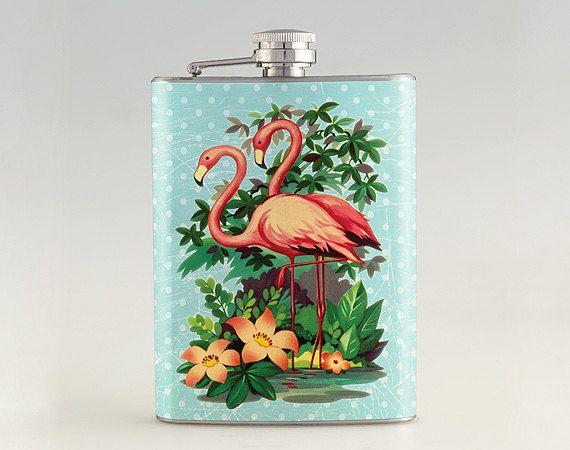 1950s Retro Pink Bathroom Flamingo Liquor Hip flask